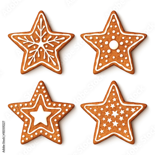 set of gingerbread christmas star cookies with ornaments