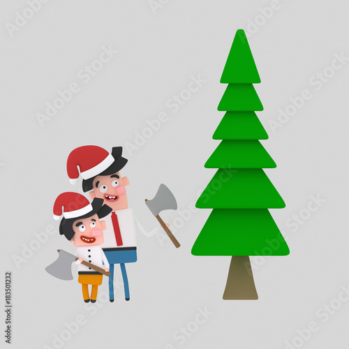 Children Holding Christmas Ornaments Isolate Easy Background Remove