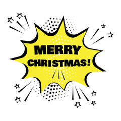 Yellow bubble with MERRY CHRISTMAS word. Comic sound effects in pop art style. Vector illustration.