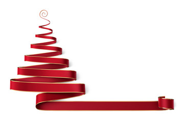 Christmas tree made of red ribbon with gold boarder and curl on top - Banner