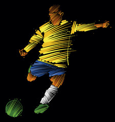 soccer player kicking the ball made of colorful brushstrokes on dark background