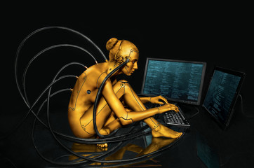 Girl-Android deals with crypto-currency mining