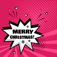 White comic bubble with MERRY CHRISTMAS word on pink background. Comic sound effects in pop art style. Vector illustration.