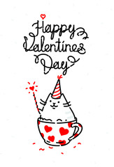 Vector illustration of a cat on a valentines day holiday. Image is isolated on a white background for printing, banner, website. Kitty in the cup congratulates, wishes happiness. Valentine's Day, Febr