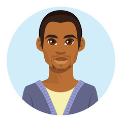 Happy young African American man avatar portrait