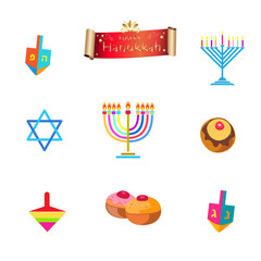 Hanukkah traditional symbols set. Menorah, dreidel, donut, David's star, scroll ribbon banner. Chanukah Jewish Holiday vector icons isolated on white background.