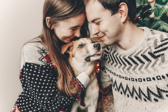 happy family in stylish sweaters having fun with cute dog in festive room with christmas tree. emotional moments. merry christmas and happy new year concept. happy holidays