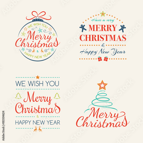 Merry Christmas Calligraphy.Merry Christmas Calligraphy With Ornaments Vector Stock