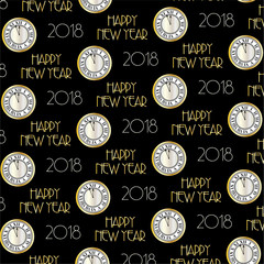 2018 art deco typography and clock vector background pattern