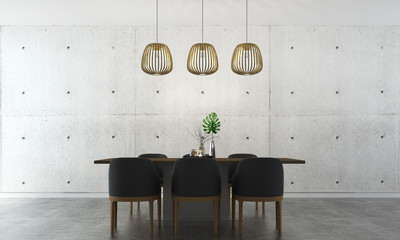 The modrn dining room interior design and concrete wall background texture