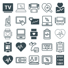 Set of 25 monitor filled and outline icons