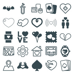 Set of 25 heart filled and outline icons