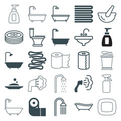 Set of 25 bath filled and outline icons
