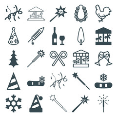 Set of 25 year filled and outline icons