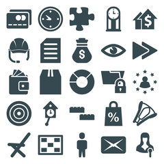 Set of 25 business filled icons
