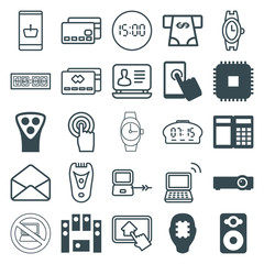 Set of 25 electronic filled and outline icons