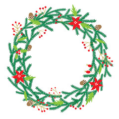 Chriatmas wreath with berries, fir branches. Round frame for winter design. Vector background