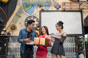 Young people Happy time with gift box at celebration party . Birthday or New Year eve celebrating concept