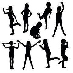 The collection of kids´silhouettes which are playing and dancing.