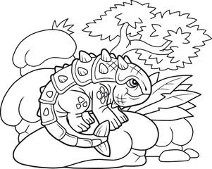 cartoon cute ankylosaurus, funny illustration