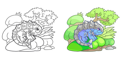 cartoon cute ankylosaurus, funny illustration
