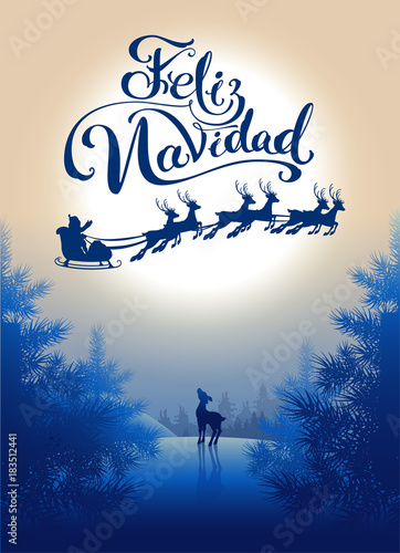 feliz navidad translation from spanish merry christmas lettering calligraphy text for greeting card silhouette