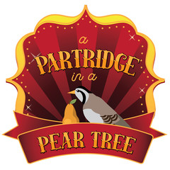 Retro marquee of a partridge in a pear tree from the Twelve Days of Christmas. EPS 10 vector illustration.
