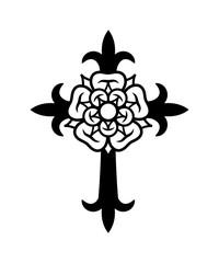 Rosenkreuz (Cross with Rose). Sacral mystical symbol of The Rosicrucians (Rosenkreuzer), The Emblem of Medieval secret society.