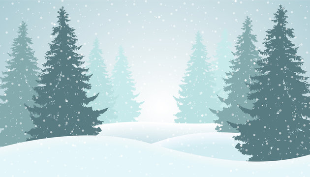 Vector illustration of winter forest with snow and mist, suitable as greeting card