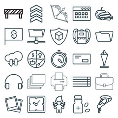 Set of 25 thin outline icons