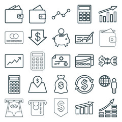 Set of 25 economy outline icons
