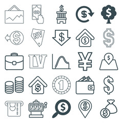 Set of 25 money outline icons