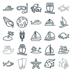 Set of 25 ocean outline icons