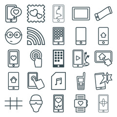 Set of 25 smart outline icons