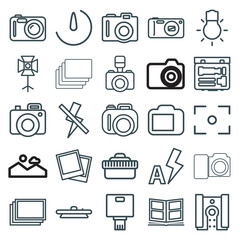 Set of 25 photography outline icons
