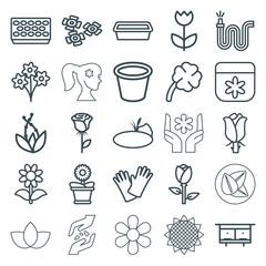 Set of 25 flower outline icons