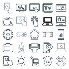 Set of 25 screen outline icons