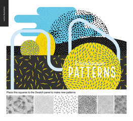 Handdrawn black and white 6 patterns set. Fur or leaves seamless black and white patterns