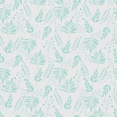 Floral seamless pattern, background with branches and leaves on a light background. Vector illustration.