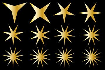 Star - vector set - gold on black background
