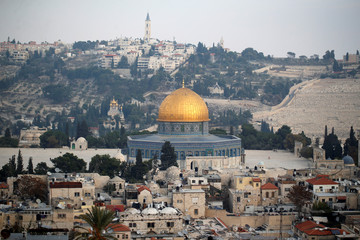 A general view shows part of Jerusalem's Old City and the Dome of the Rock