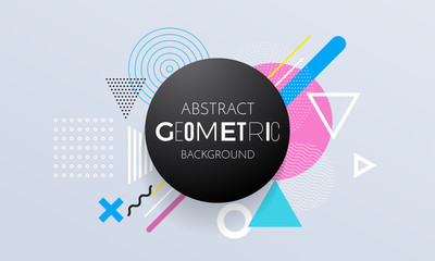 Abstract geometric pattern background of circle, square and triangle elements for modern trendy design template. Vector geometry backdrop or color graphic texture background for poster or banner
