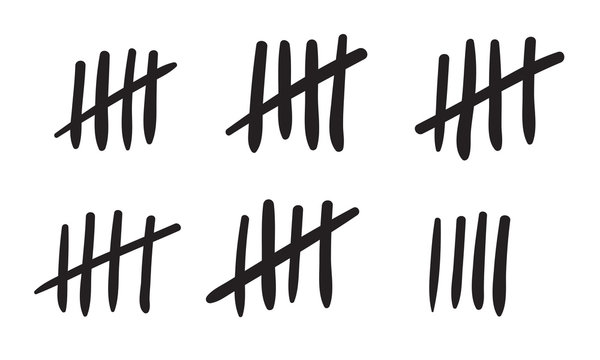Tally marks count or prison wall sticks lines counter. Vector hash marks icons of jail or desert island lost day tally numbers counting in slash lines