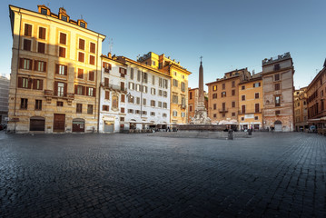 Square and Fountain near Pantheon, Rome , Italy