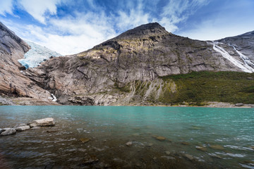 Briksdal glacier, lake, Norway