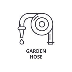 garden hose line icon, outline sign, linear symbol, flat vector illustration