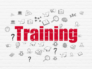 Education concept: Painted red text Training on White Brick wall background with  Hand Drawn Education Icons