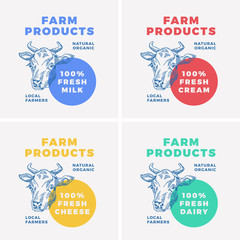 Farm Dairy Products Abstract Vector Sign, Symbol or Logo Template. Hand Drawn Cow Face Sillhouette with Modern Typography. Fresh Milk Emblem.