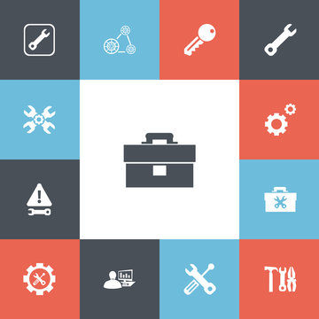 Set Of 13 Editable Tool Icons. Includes Symbols Such As Fixing Equipment, Build Equipment, Access And More. Can Be Used For Web, Mobile, UI And Infographic Design.