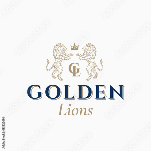 Golden lions abstract vector sign symbol or logo template hand golden lions abstract vector sign symbol or logo template hand drawn lion sillhouettes with maxwellsz
